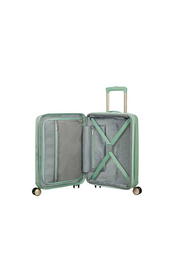 Walizki kabinowe American Tourister SoundBox Zielony Almond Green/Gold