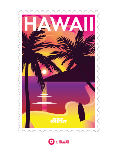 Aufkleber -  Briefmarke HAWAII